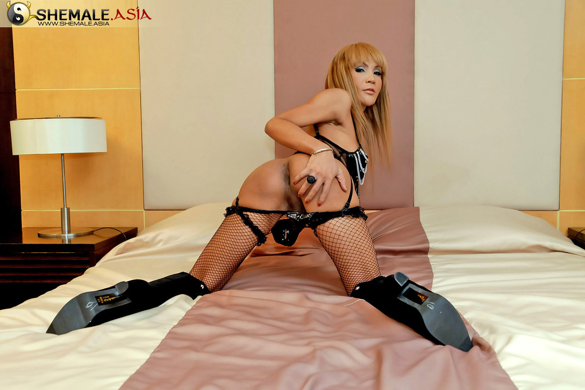 Delicious Asian TGirl Explodes With Sperm