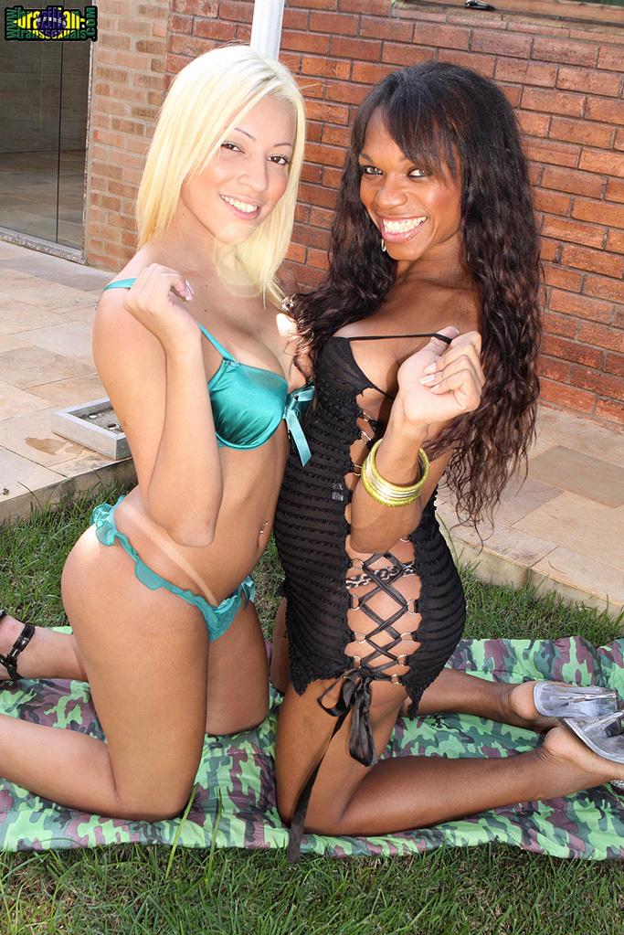 Famous Brazilian Tranny Aline Santos Gets Her Ass-Hole Filled By Pamelas Juicy Black Dick