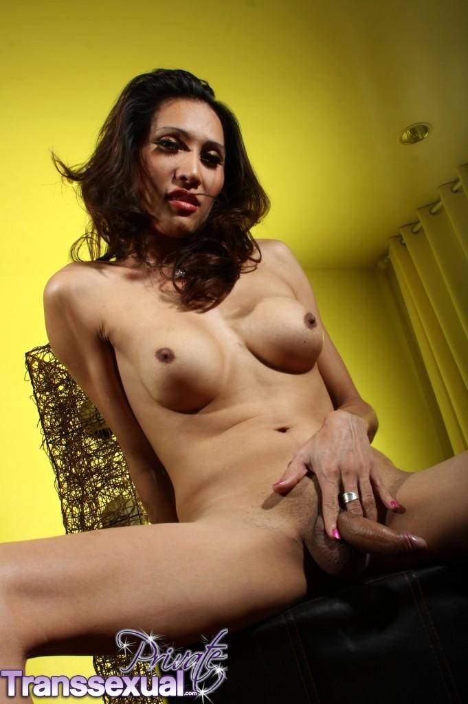 Innocent Brunette Transsexual Spreading Her Bum