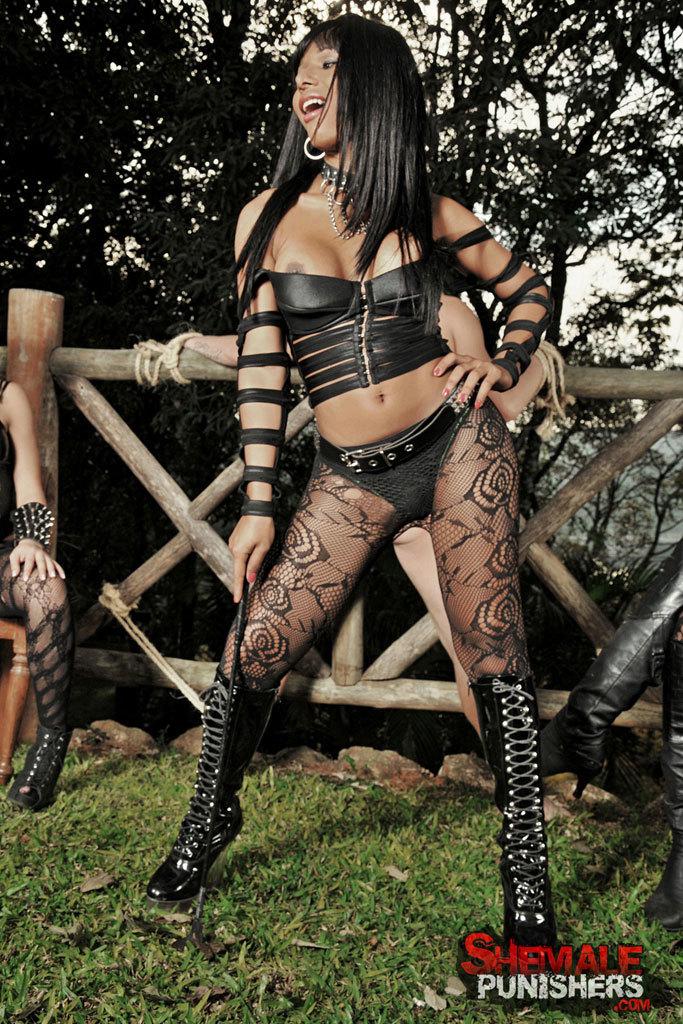 Kinky TGirl Dommes Destroy A Slave