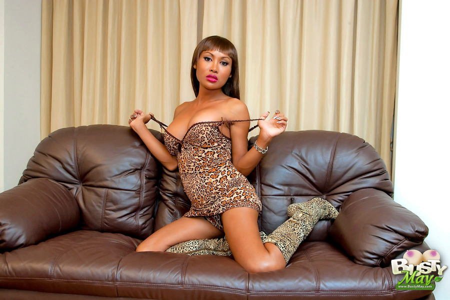 May Flashes Her Animal Side In A Leopard Skirt