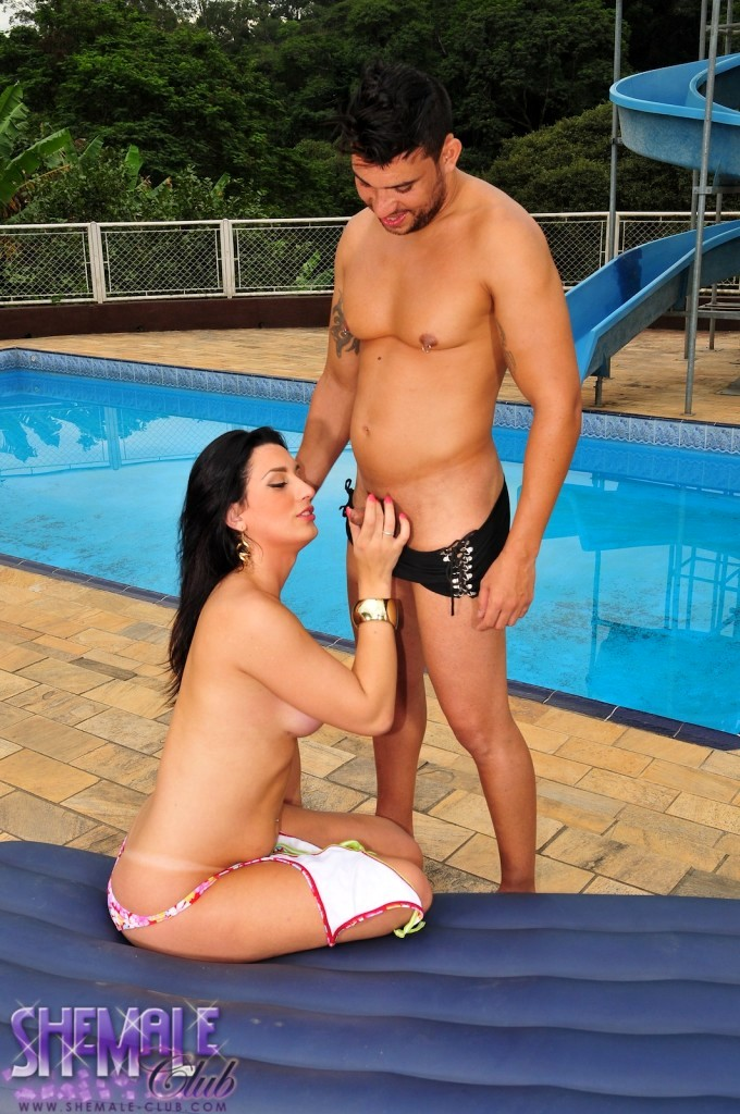 Nice Transsexual Babe Gets Ruined By The Pool