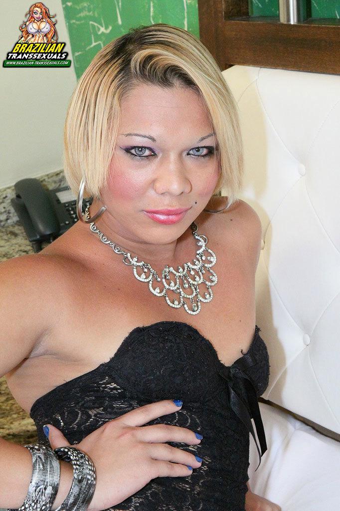 Slutty Blonde Latina With A Massive Shecock!