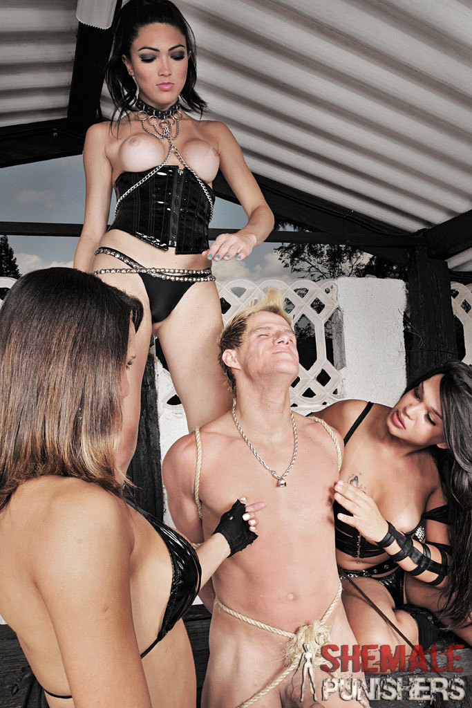 Submissive Male Punished By T-Girl Dommes
