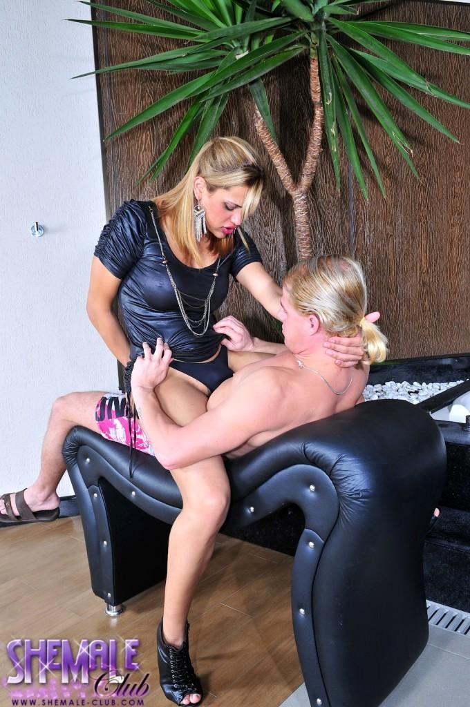 Transsexual Thaina Enjoying Eduardos Enormous Tool