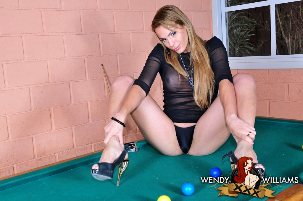 Unbelievable Tranny Evelyn Playing On The Pool Table